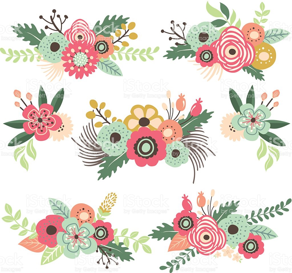 Vintage Flower Set Illustration stock vector art 517310459.