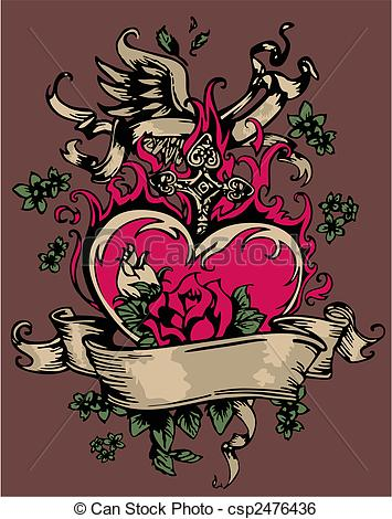 Clip Art Vector of vintage heart with flores and cross csp2476436.