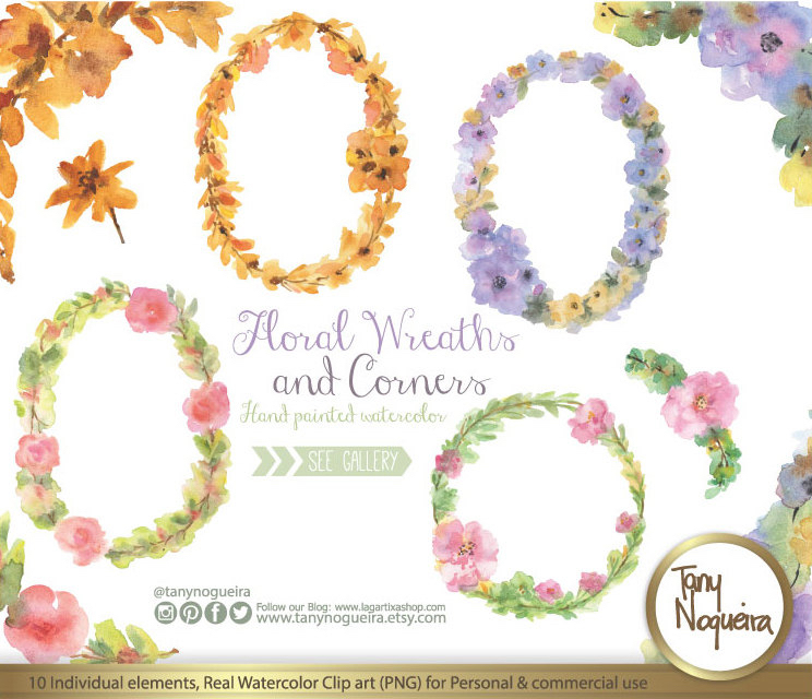Watercolor Floral Wreaths Frames Wedding Elements, Clipart, PNG.