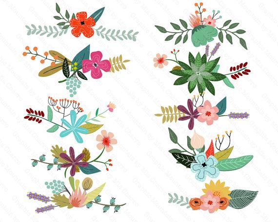 Flores Vintage Clipart.