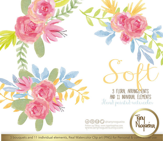 SOFT, Watercolor Floral Wedding Elements, Clipart, PNG, Vintage.