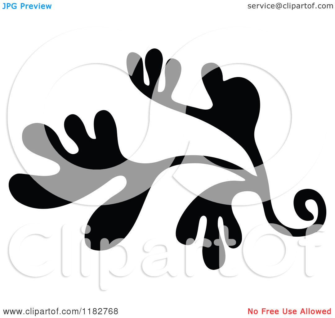 Clipart of a Black and White Floret Design Element.