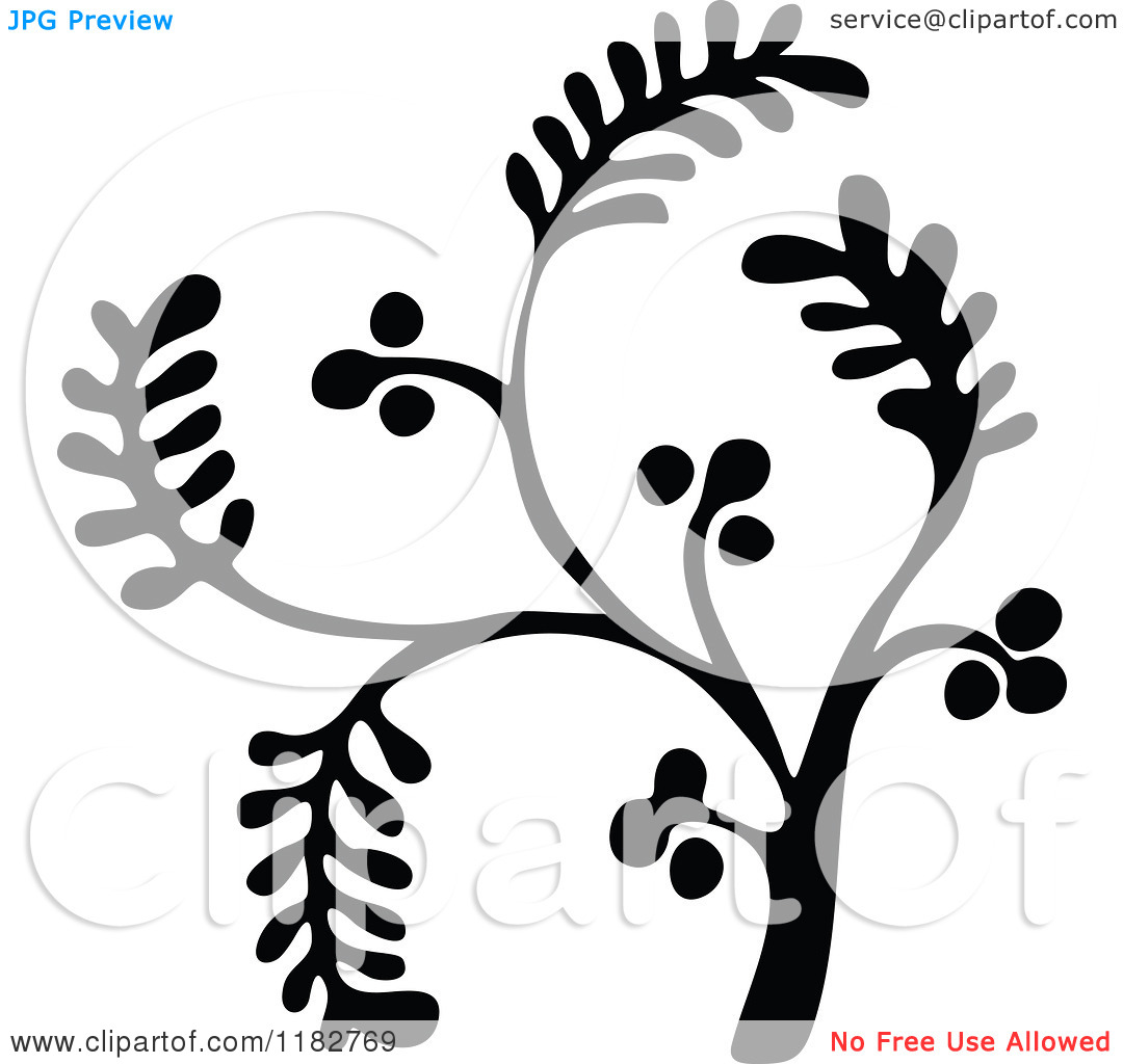 Clipart of a Black and White Floret Design Element 2.
