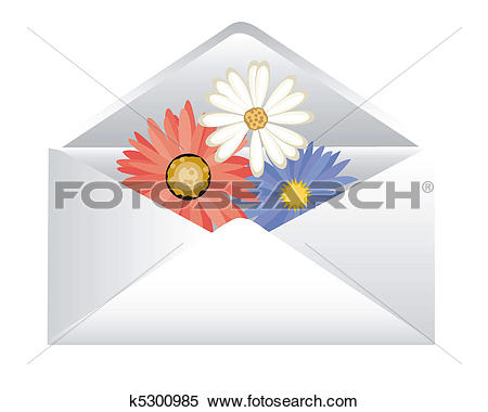 Clipart of Post envelope with florets k5300985.
