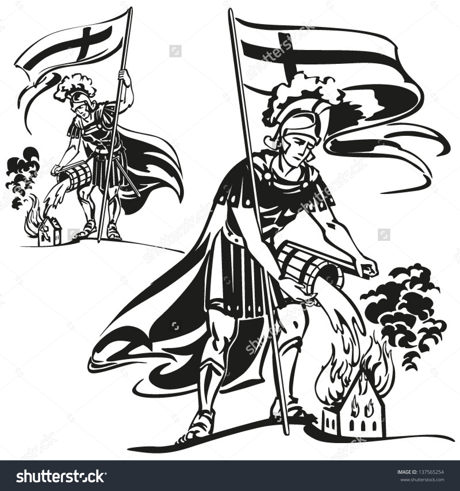 St Florian Themes Brush Drawingbased Vector Stock Vector 137565254.