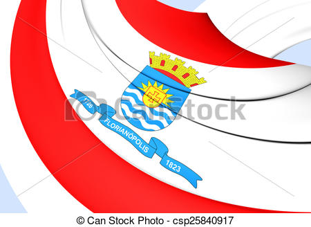 Clipart of Flag of Florianopolis, Brazil. Close Up. csp25840917.