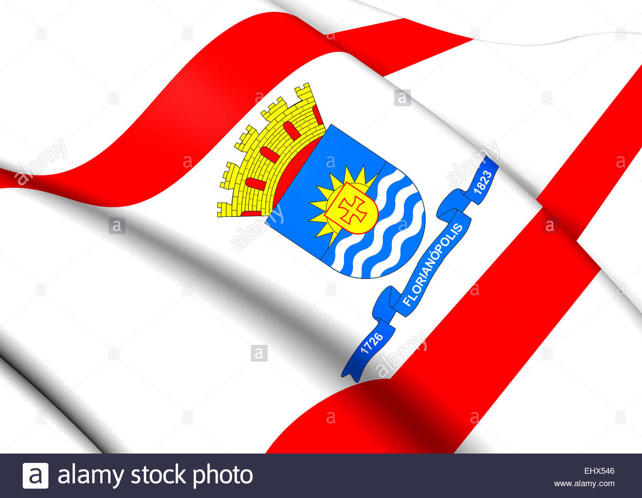 Flag Of Florianopolis, Brazil. Close Up Stock Photo, Royalty Free.