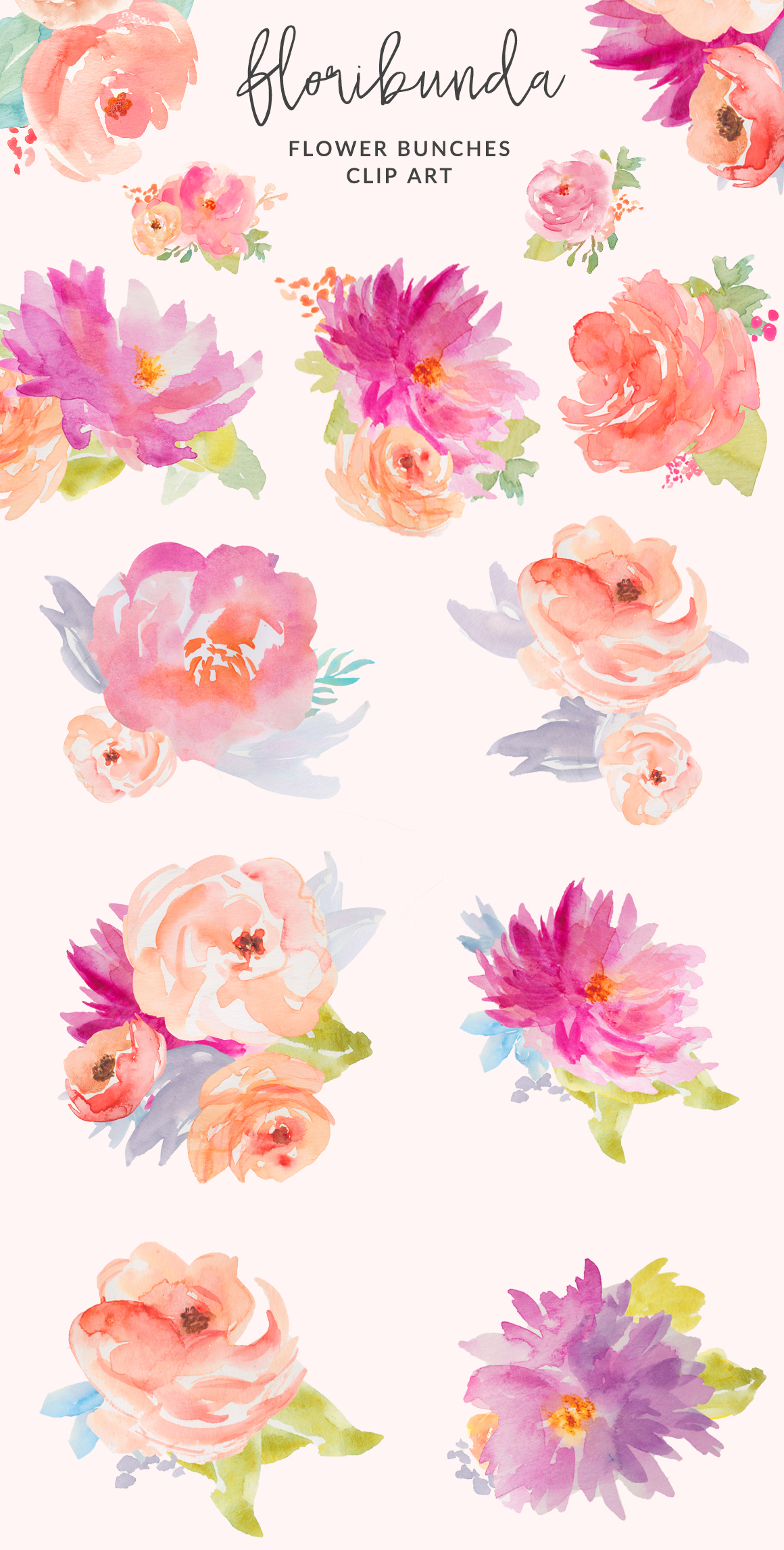 Watercolor Floral Clip Art Design. Watercolor Flower Illustration.