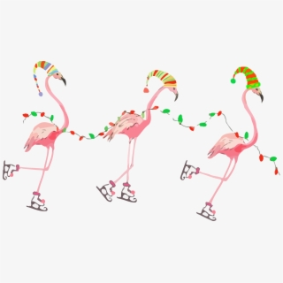 Fun Retro Christmas Cards Pink Flamingos.