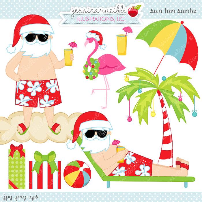 Santa in florida clipart.