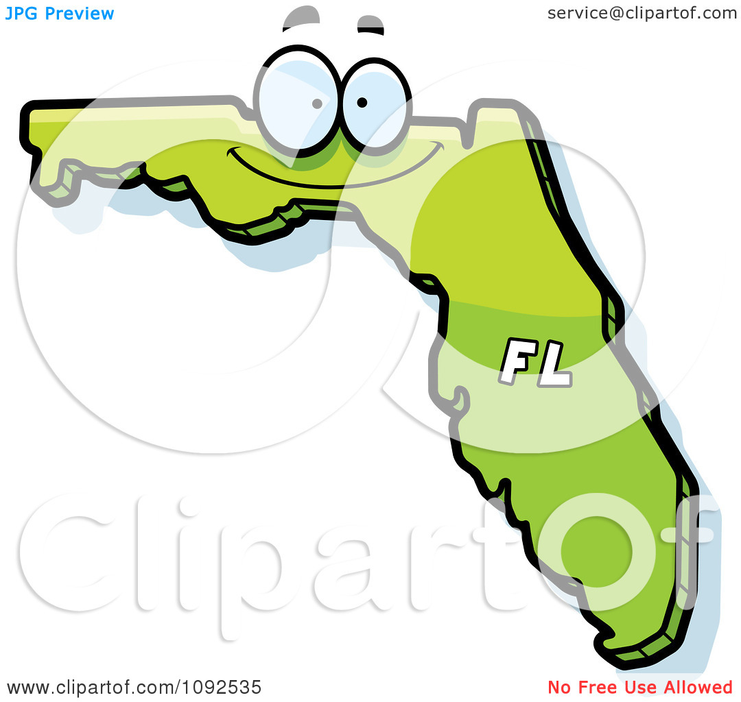 Clipart Happy Green Florida State Character.