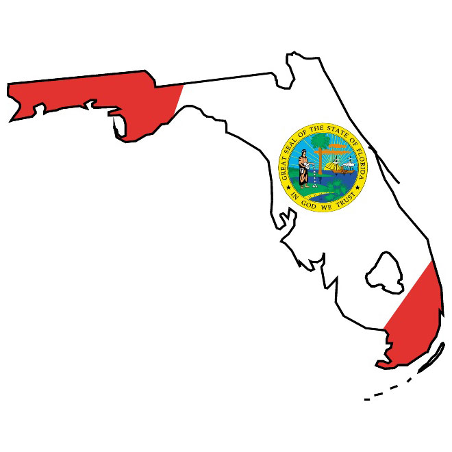 Florida flag and vector map.