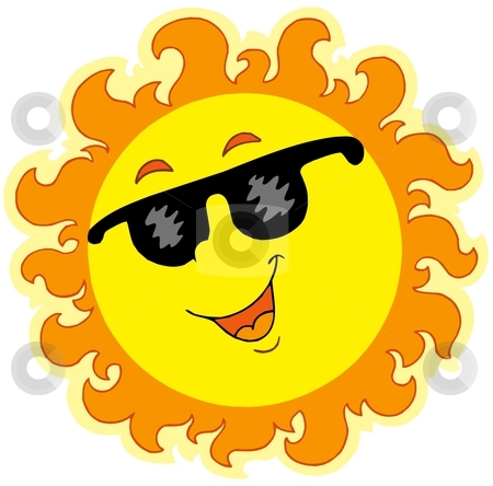 Spring Sun with sunglasses stock vector.