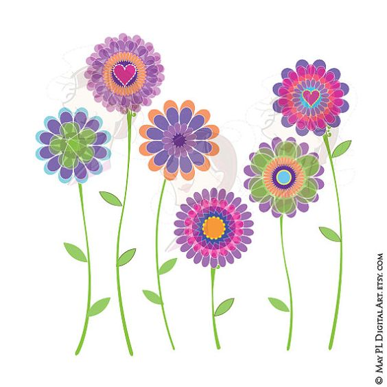 Spring Purple Flowers Digital Clip Art Mothers Day Scrapbook.