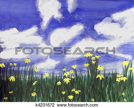 Clip Art of Flowers bright field, Florida k4231672.