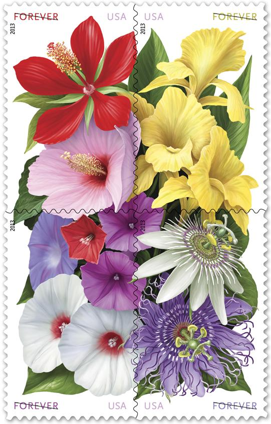 USPS Celebrates La Florida's 500th anniversary with four floral.