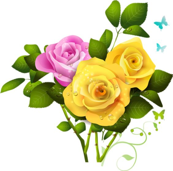 Yellow and Pink Rose Bouquet PNG Clipart.