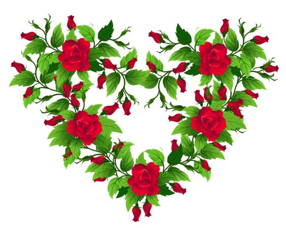 Red Roses Heart Decor PNG Clipart Picture.