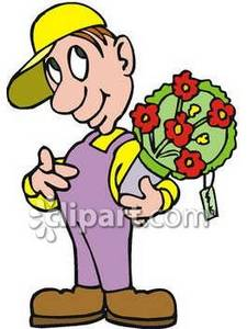 Clipart Picture of a Florist With a Bouquet of Flowers.