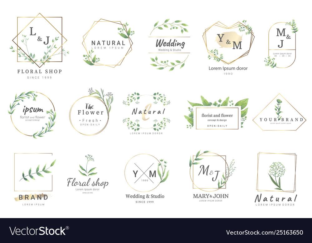 Premium floral logo templates for weddinglogo.