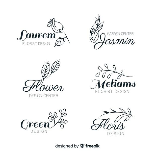 Wedding florist logo templates collection Vector.