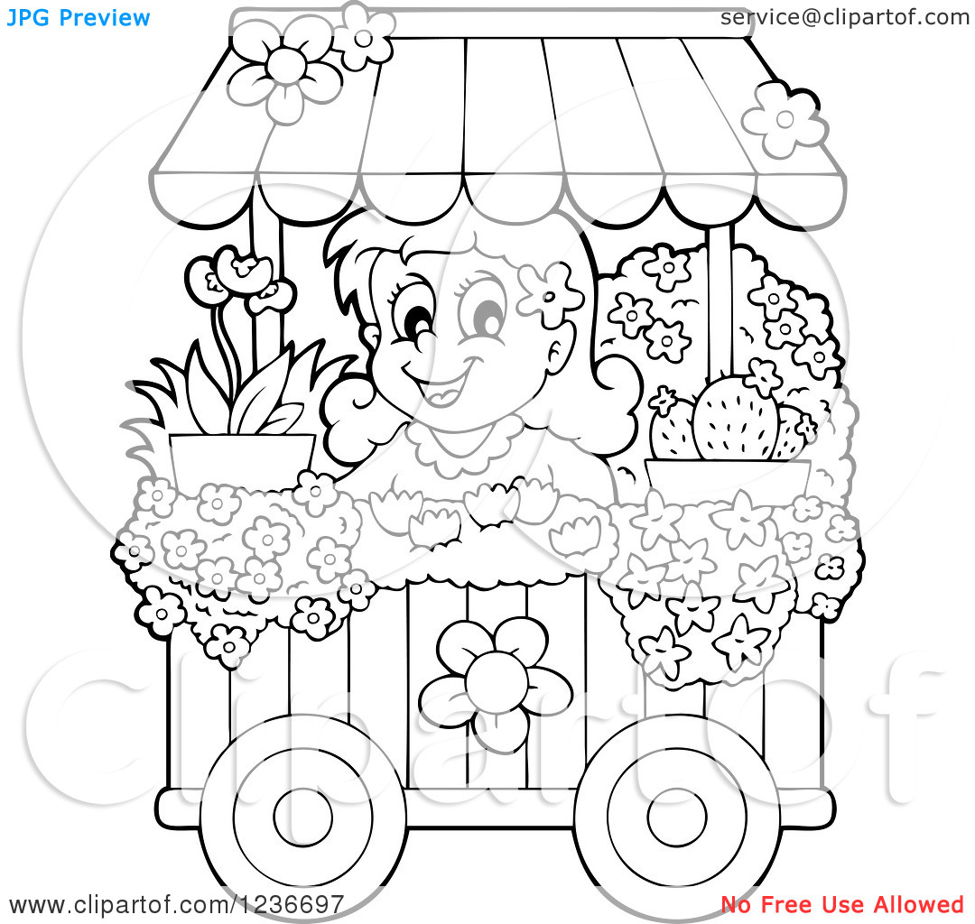 Clipart of a Black and White Happy Girl Working at a Flower Shop.