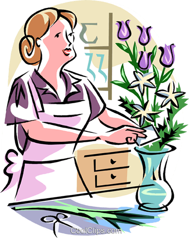 Florist making bouquet Royalty Free Vector Clip Art illustration.