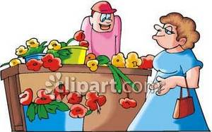 Cartoon Clipart Picture of a Florist and Customer.