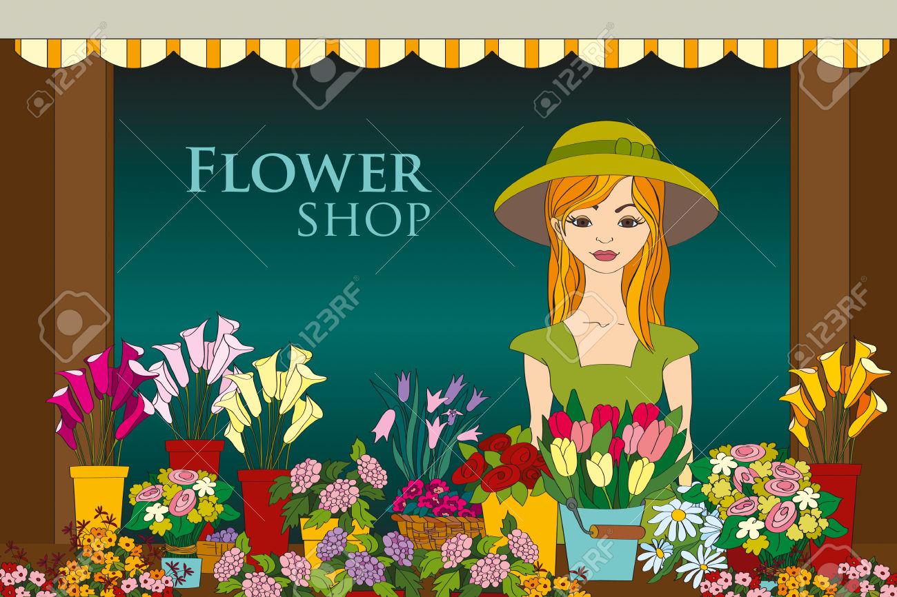 Vector Illustration Of Florist Girl In Front Of Flower Shop.