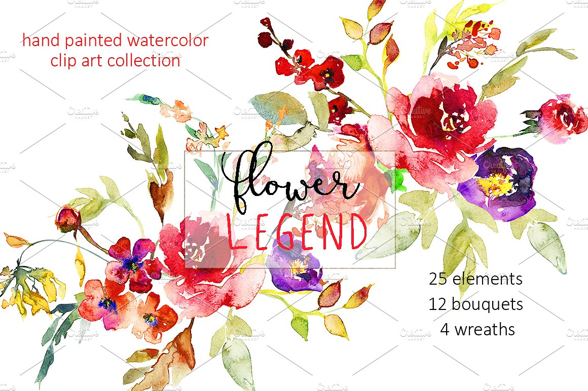 Flower Legend watercolor clipart. ~ Illustrations on Creative Market.