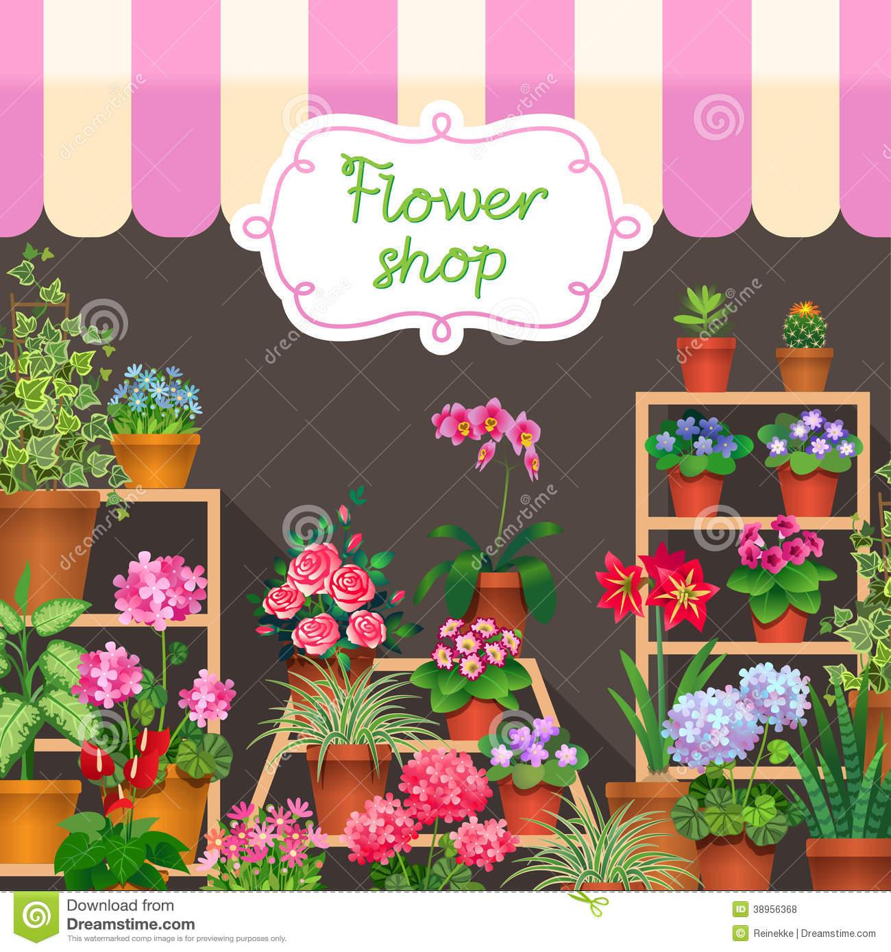 Flower Shop Stock Vector.