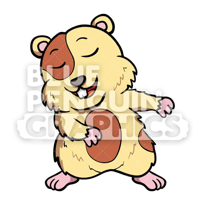 Hamster Flossing Vector Cartoon Clipart Illustration.