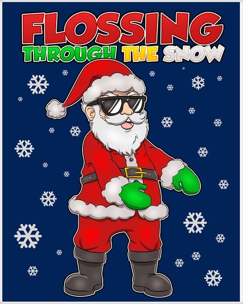 Flossing Through The Snow Santa Poster.