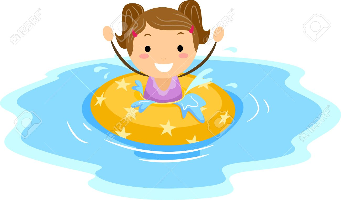 Illustration Of A Girl Wearing A Flotation Device Stock Photo.