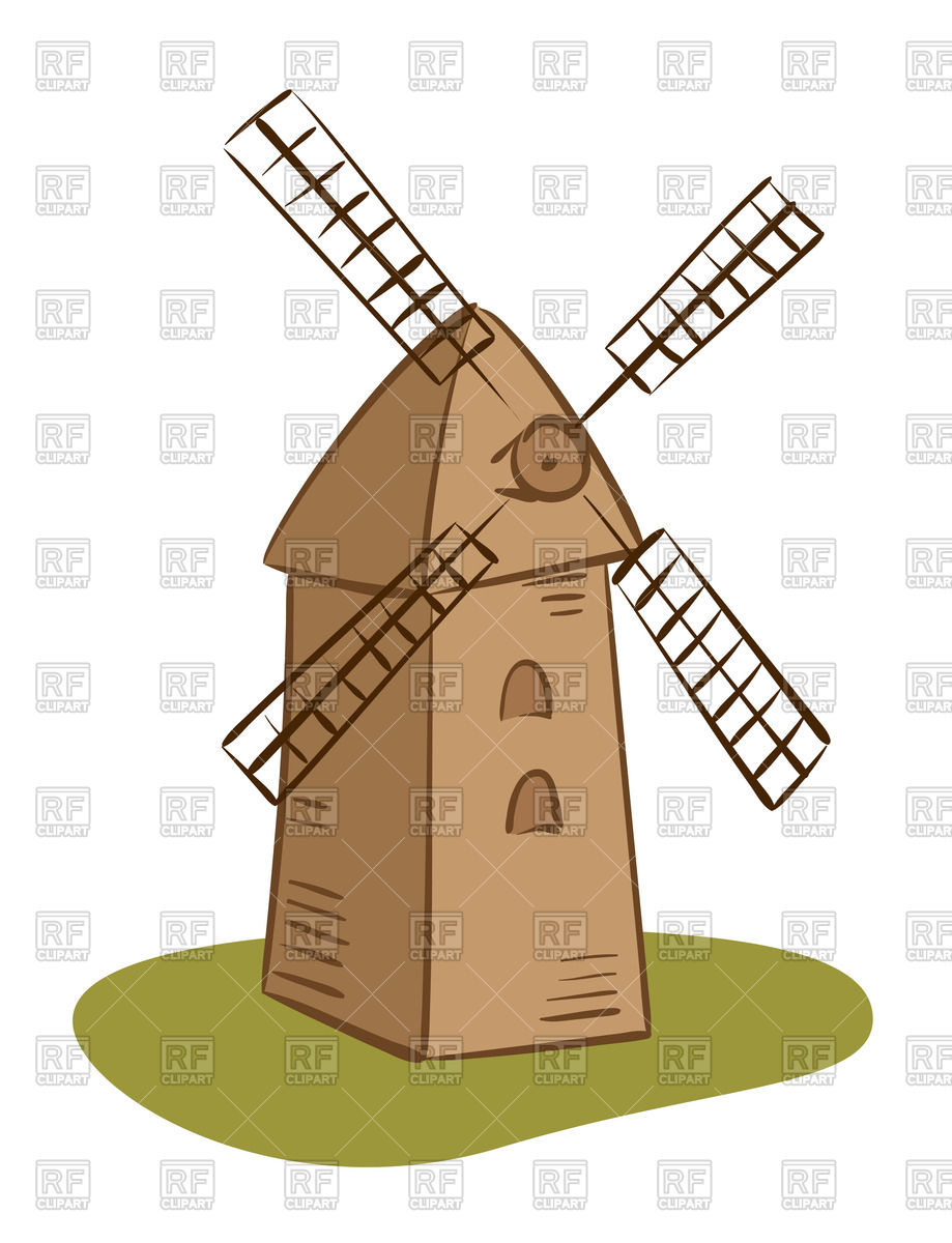 Cartoon rural windmill Vector Image #67017.