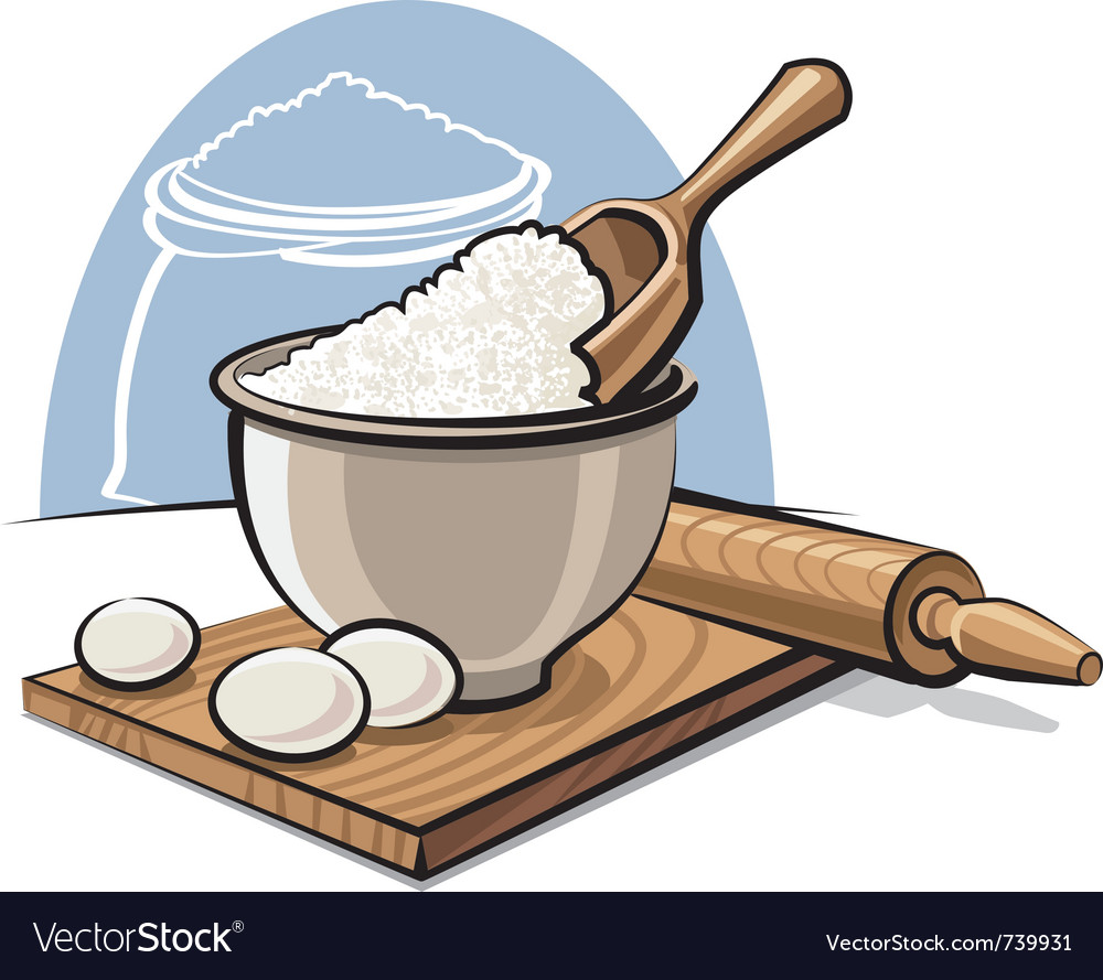 Flour in bowl with eggs.