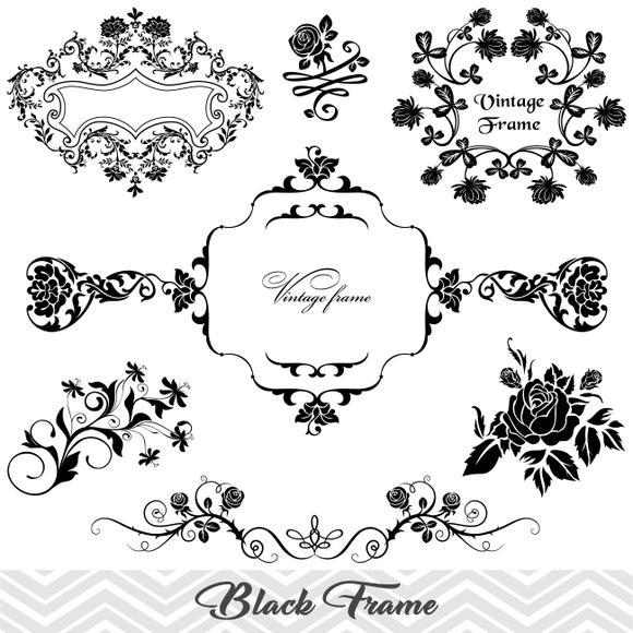 Flower Frame Border Clipart, Flower Flourish Swirl Frame Clip Art,  Scrapbook Embellishment Decor, 00020.