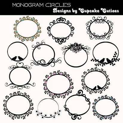 Free monogram frame clip art.