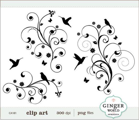 Bird Tree Flower Flourish Swirl Decorative clip art (CA181.