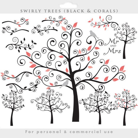 Tree clip art swirly tree flourish swirls by WinchesterLambourne.