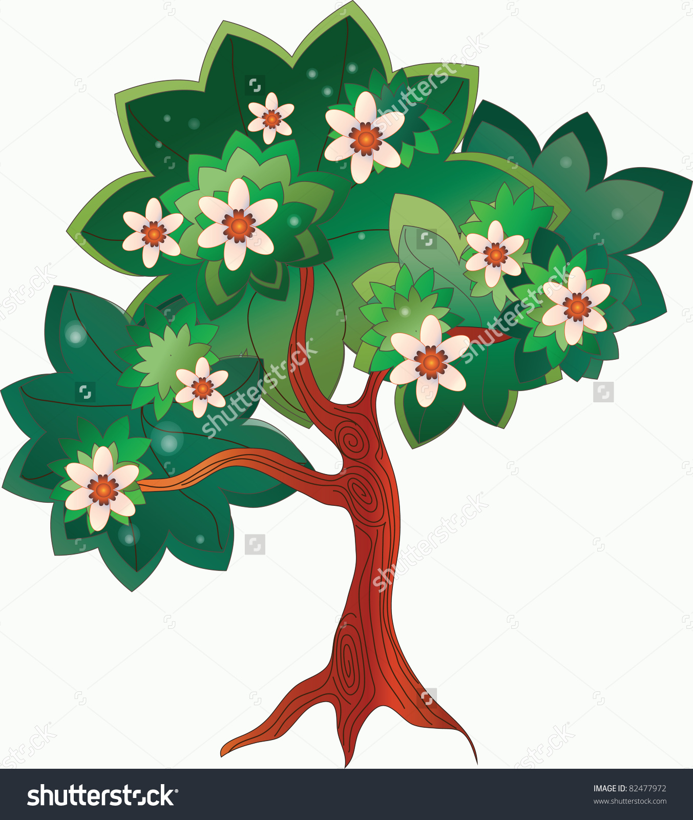 Image Of A Cartoon Tree With A Flourishing Crown Stock Photo.