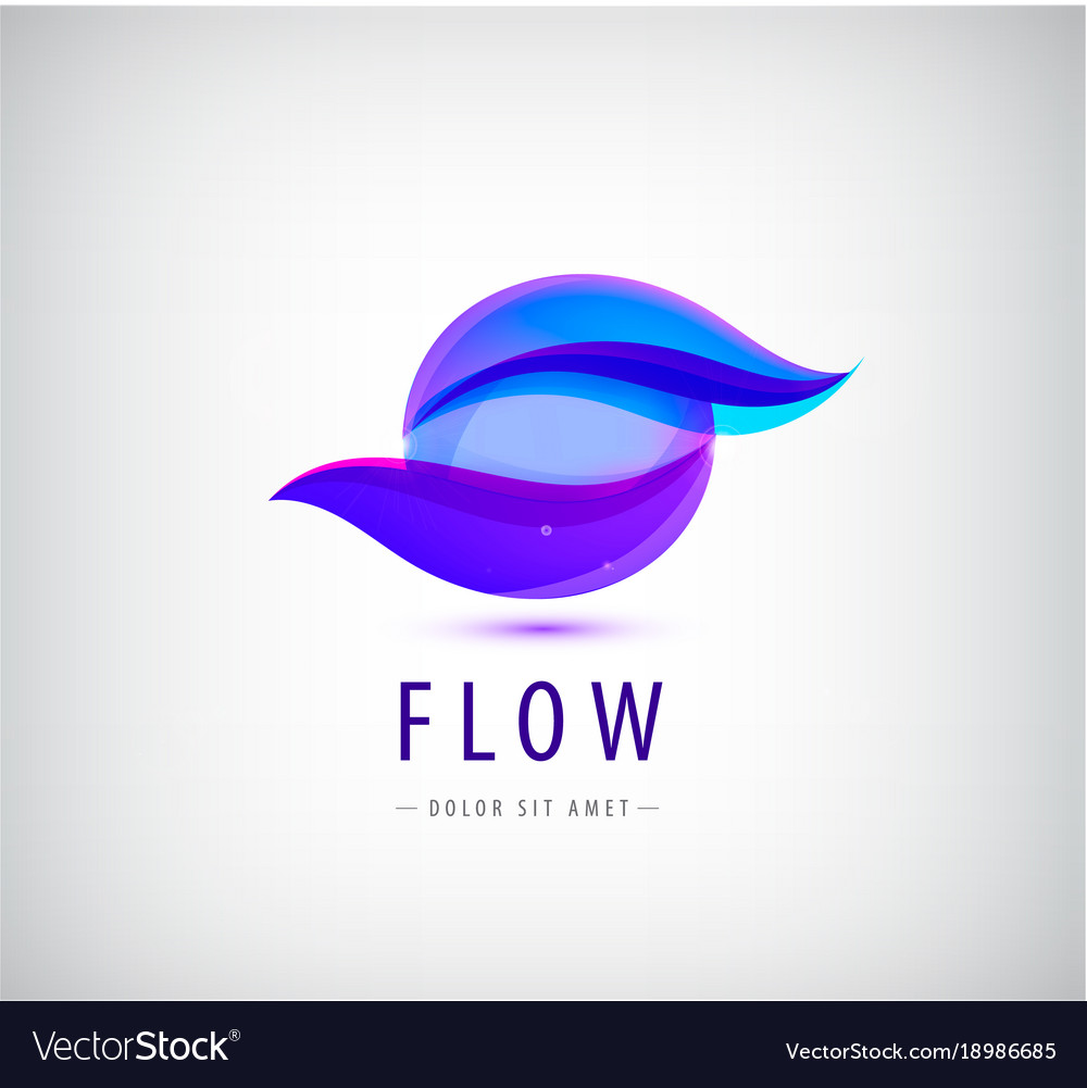 Abstract sphere flow waves logo.