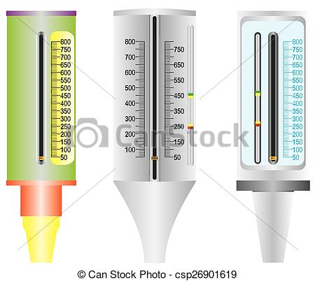Vector Clip Art of Asthma. Peak flow meter. Peak flow meter used.