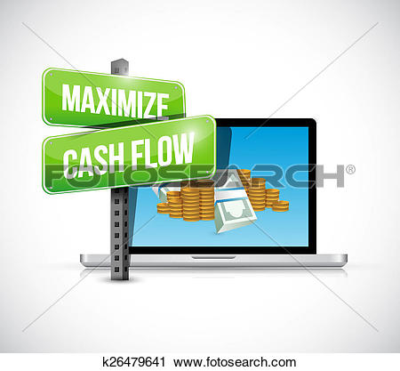 Clipart of maximize cash flow technology sign illustration.