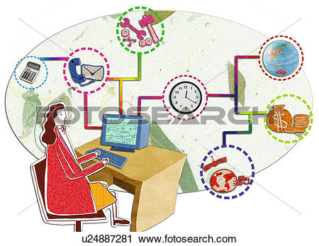 Clipart of Businesswoman with Flow Chart u24887281.