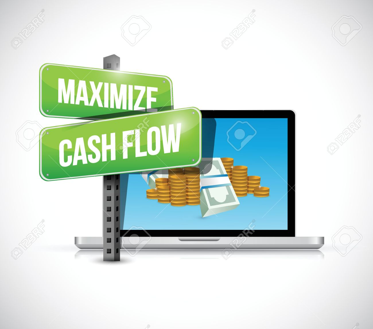 Maximize Cash Flow Technology Sign Illustration Design Over White.