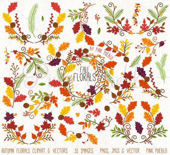 Thanksgiving Flower Clipart Vectors.