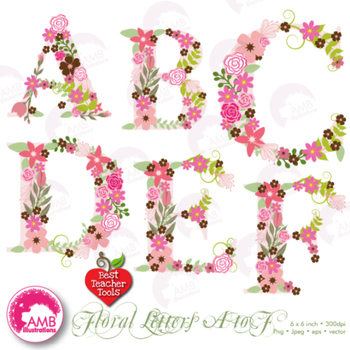 Letters Clipart, Letters In Pink Floral Theme Clipart A to F, AMB.
