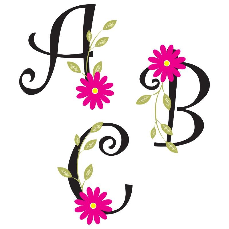 Flower Alphabet Clipart.
