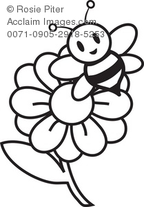 Clipart Illustration of a Flower and a Bee Coloring Page.